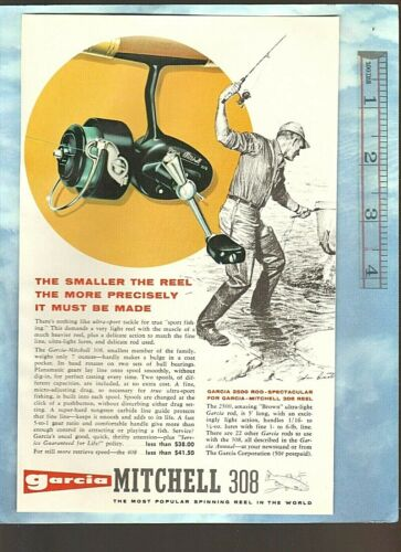 Vintage 1965 GARCIA MITCHELL 308 Ultra-Sport Reel + Fishing Lures Color Art Ads
