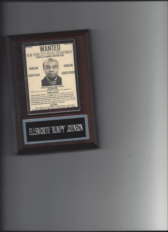 ELLSWORTH BUMPY JOHNSON PLAQUE MAFIA ORGANIZED CRIME MOBSTER MOB HARLEM