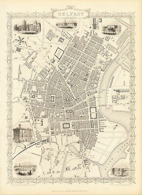 Antique Belfast Northern Ireland decorative map Tallis 31,5 x 23,6 inch canvas