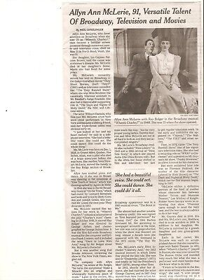 Allyn Ann McLerie 91 New York Times Obituary Broadway Actor Where's Charley