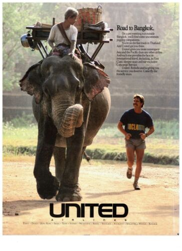 1990 United Airlines Road to Bangkok Elephant Travel Vintage Print Advertisement