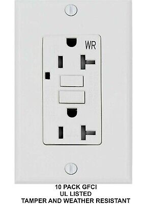 20 Amp Gfci Gfi Receptacle Outlet -tamper Resistant Wr White Ul Gfci 10pack