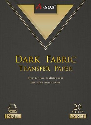 A-sub 20 Sheets Dark Fabric Cotton 8.5x11 Inkjet Iron On Heat Transfer Paper Diy