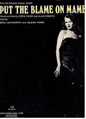 RITA HAYWORTH/GLENN FORD-PUT THE BLAME ON MAME--PIANO/VOCAL SHEET MUSIC-RARE-NEW