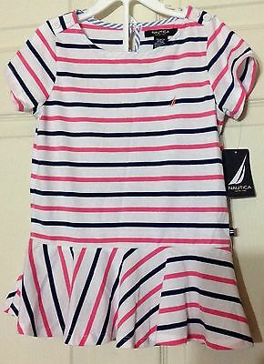 Nautica Girls White Navy Pink Stripped Knit Top Size 10 NWT $32