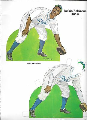 JACKIE ROBINSON HOF PAPER DOLL STAND UP UNUSED BOOK CUT-OUT PAGE ART CARD DODGER - Cut Out Stand Ups