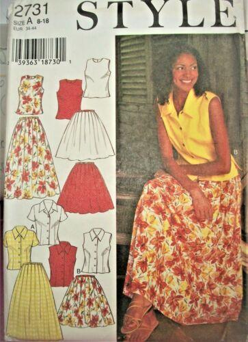 Miss Style 2731 Pattern Blouse Top FULL Skirt UNCUT Size 8-10-12-14-16-18 Retro