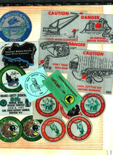 HUGE LOT OF 100 DIFFERENT MSHA-HOLMES SAFETY  COAL MINING STICKERS