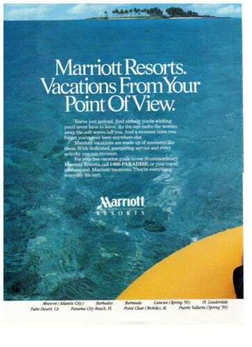 1990 Marriott Resorts Tropical Vacation Blue Water Vintage Print Advertisement