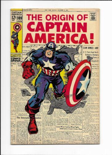 Captain America #109 FN/VF the origin of Captain America CLASSIC MARVEL 1969