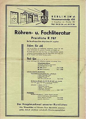 alter Prospekt ATZERT RADIO BERLIN um 1955 Röhren und Fachliteratur RAR   ( 4836