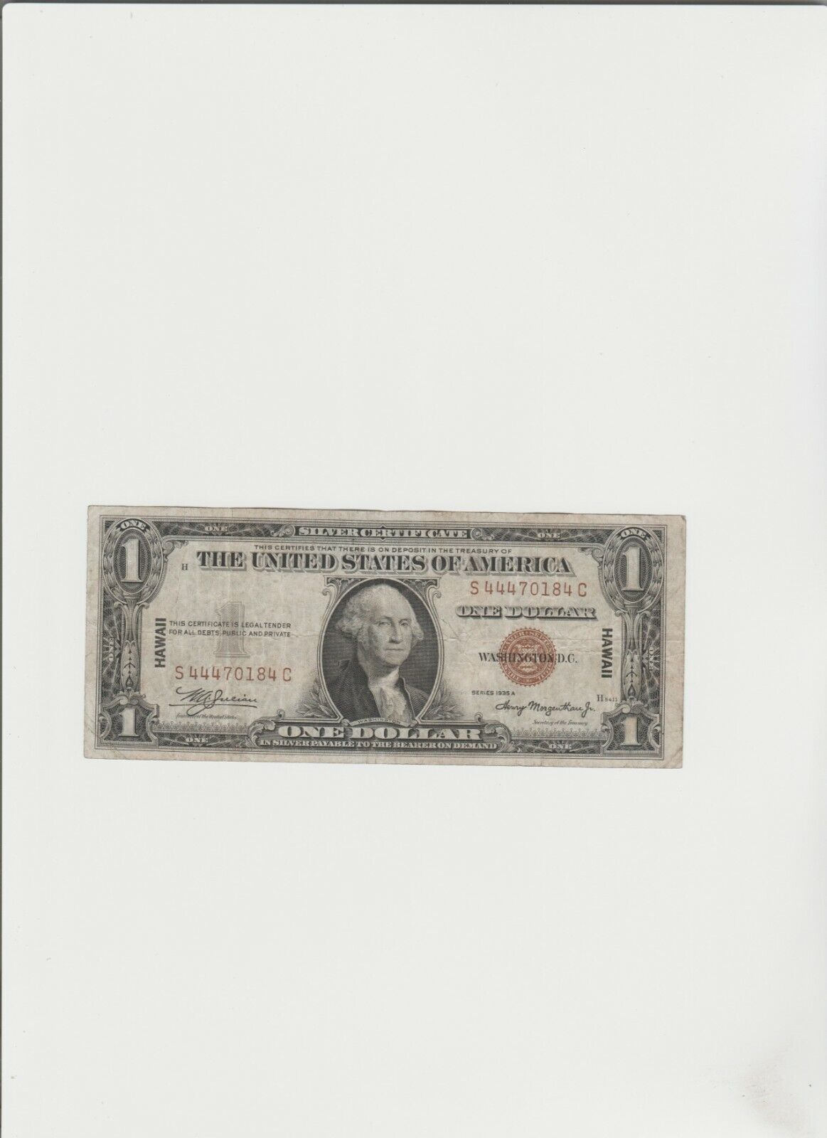 1935-A 1 Dollar Bill Silver Certificate HAWAII Note  - $81.99