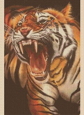 Roaring Tiger Counted Cross Stitch Complete Kit  #2-441 KIT