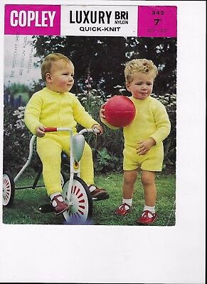 50 60 Outfits (VINTAGE 50 -60s 7d COPLEY KNITTING PATTERN QK IN BRI NYLON TODDLER OUTFITS)