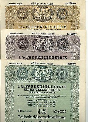 3er Set der IG Farben Teilschuldverschreibungen vom Juli 1939 mit 4,5%