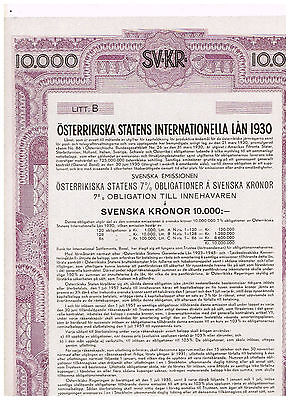 Austrian Government International Loan 1930, Vienna 1930, 10.000 Svenska Kronor