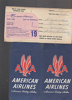 1956 American Airlines Ticket Envelopes   Pan American Gate Pass
