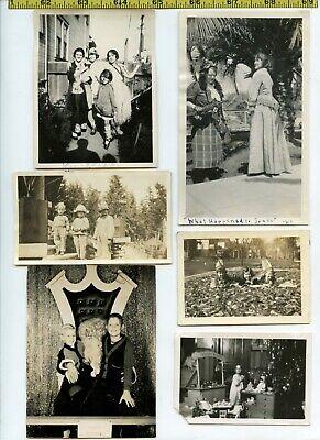 (18) Vintage photo lot / KIDS COSTUMES - Halloween Makeup OLD SNAPSHOTS 1900-70