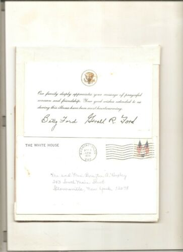 Thank you message from President & Mrs. Ford, White House envelope