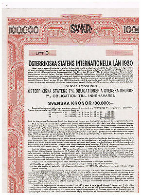 Austrian Government International Loan 1930, Vienna 1930, 100.000 Svenska Kronor