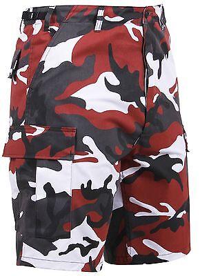 Men's Red Camouflage BDU Cargo Shorts - Black, Red & White C