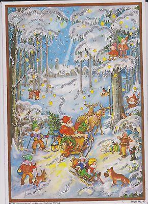 1 Sellmer Adventskalender mit Glimmer Winter Wald Zwerge Weihnachtsmann Nr.45