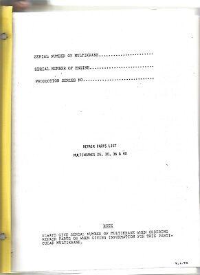 Pettibone Multikranes 25 29 30 36 40 Repair Parts List Manual