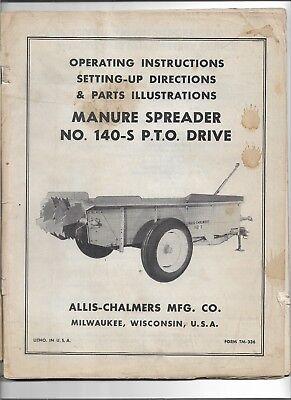 Original Oem Allis Chalmers140s Pto Drive Manure Spreader Operators Parts Manual