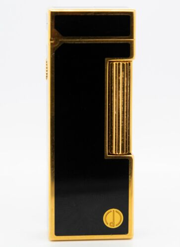 Dunhill Rollagas Lighter Gold Plated Lacquer Black Working Model #28200