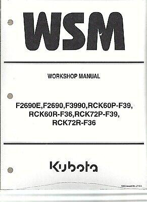 Kubota F2690e F2690 F3990 Mower With Decks Workshop Service Manual