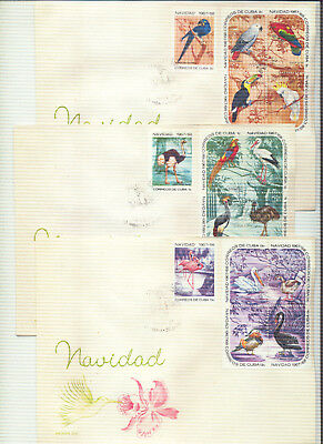 3 First Day Covers - Cuba - Dec20, 1967 - NAVIDAD 1967/68 XMAS ISSUE ON 3 FDC'S
