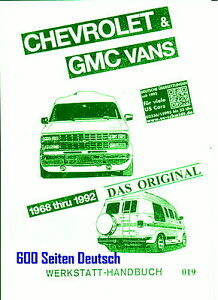 Chevrolet VAN  G20 Kompl. Rep,- Buch Bj. 68 - 92  Deutsches Profi-Buch !