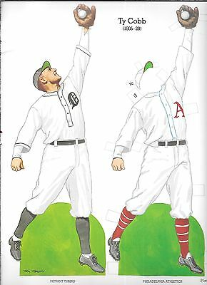 TYRUS COBB HOF PAPER DOLL STAND UP UN-CUT BOOK CUT-OUT PAGE ART BASEBALL CARD TY - Cut Out Stand Ups