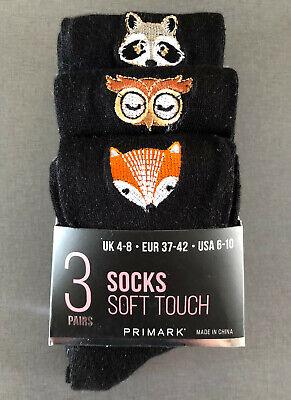 3 Paar Damen Socken Waschbär Eule Fuchs Tiere Strümpfe Set Schwarz 37-42 Primark