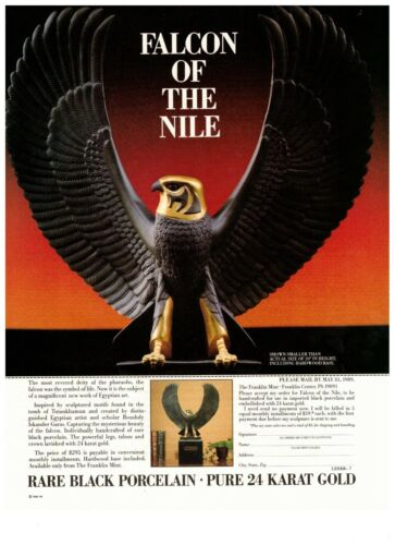 1990 Franklin Mint Falcon of the Nile Porcelain Gold Vintage Print Advertisement