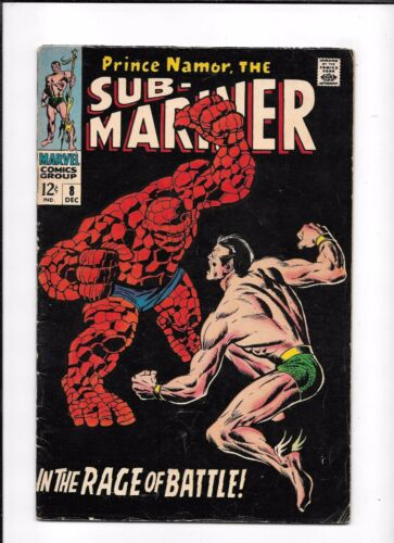 SUB-MARINER #8 ==> VG/FN NAMOR VS. THE THING MARVEL COMICS 1968