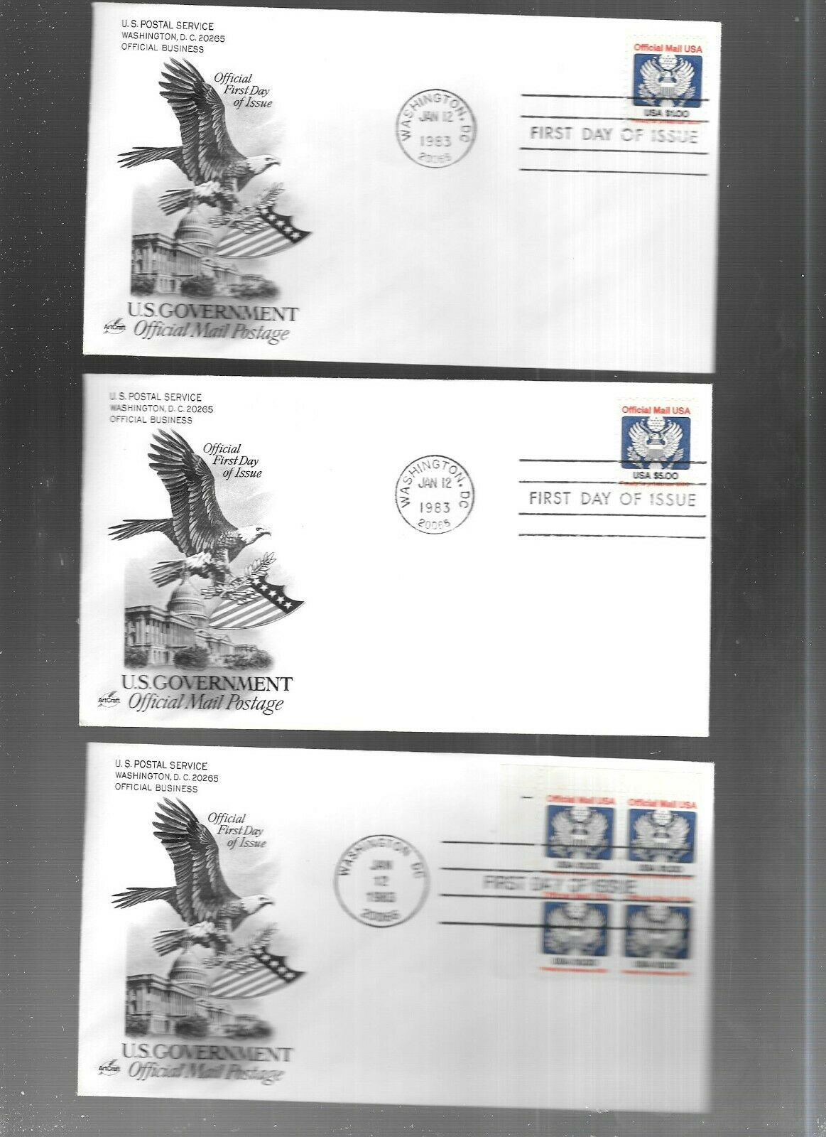 US FDC FIRST DAY COVERS COLLECTION LOT OF 4 OFFICIAL STAMPS TO 5.00 - $2.55