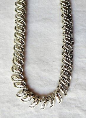 """Vintage Silver-tone """"S"""" Shaped Hinged Choker Necklace Marked Coro"""