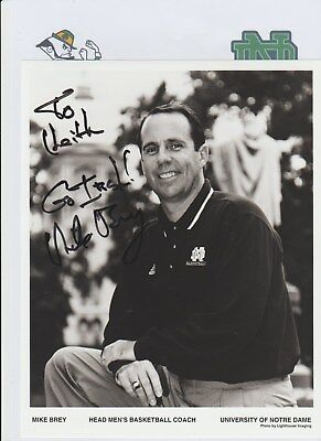 MIKE BREY NOTRE DAME FIGHTING IRISH HEAD COACH 2000-PRESENT HAND SIGNED PHOTO