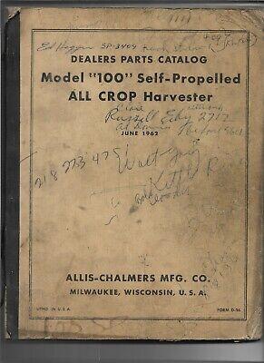 Original Allis Chalmers 100 Self Propelled All Crop Harvester Parts Catalog D-36