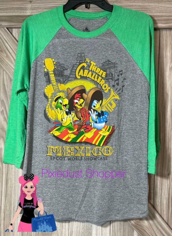 Disney Epcot Mexico World Showcase Three Caballeros Raglan Mens Shirt
