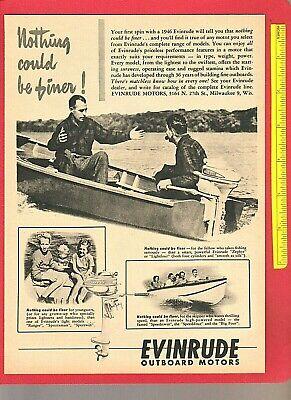 Vintage Original 1946 EVINRUDE ZEPHYR & LIGHTFOUR Outboard Fishing Motors Ad