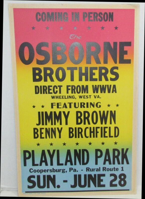 Original Osborne Brothers Concert Poster Playland Park Cooperburg, PA, country