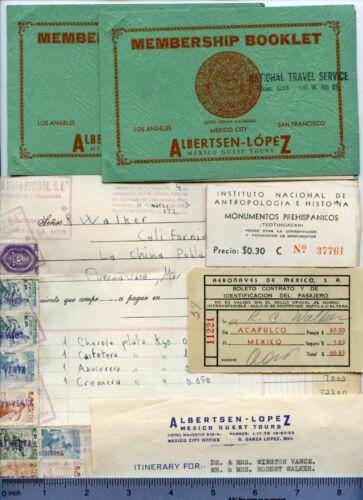 6-pc Vintage 1947 VACATION to MEXICO Documents / Albertsen Lopez Travel Service