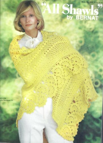 Vintage Crochet & Knit SHAWLS Ponchos Lace Flower Design Fringed Pattern Book