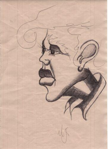 Michael Jackson Genuine Sketch Drawing Signed Autograph (Initials!) 21.5x32.9 cm