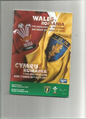 Wales v Romania Rugby Programme 30th August 1997
