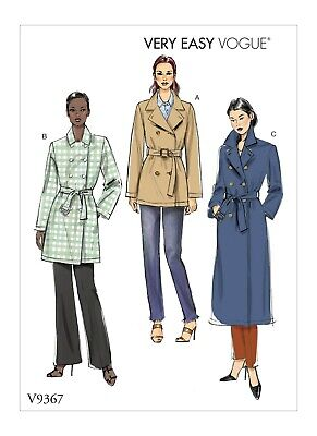 V9367 Sewing Pattern VERY EASY Double-breasted Button Front Unlined Jacket Coat