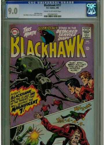 BLACK HAWK #217 CGC 9.0 1966 DC COMICS UN-RESTORED  CREAM TO OFF WHITE PAGES
