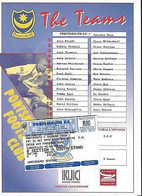 Football Ticket plusTeamsheet>PORTSMOUTH v SWINDON TOWN Oct 1997